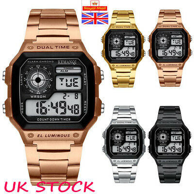 Mens Stainless Steel Strap LED Digital Quartz Wrist Watch Sport Army Waterproof