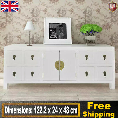 Modern Asian Sideboard TV Cabinet Entertainment Stand with Drawers Storage White