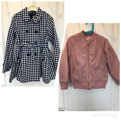 Bundle Of 2 Girl's Checked Trench Coat & Bomber Jacket 6-7 Years Height 122 cm