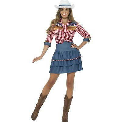 Rodeo Doll Dolly Parton Cowgirl Costume Blue Womens Ladies Fancy Dress Costume