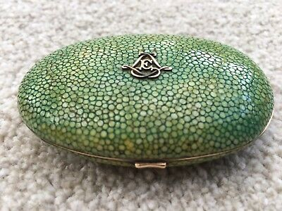 ANTIQUE FRENCH 19th CENTURY REAL SHAGREEN HINGED PURSE BOX WITH 18ct GOLD MOUNT