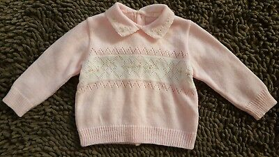 Vintage*Pink Button Back Sweater*Baby Girl Size 3mos*EVC