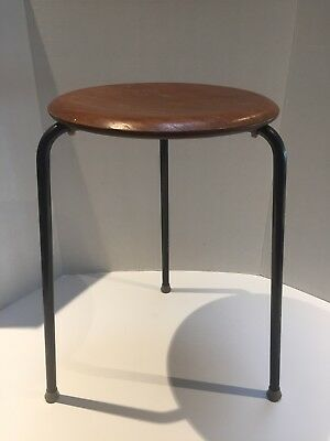 Vintage 1950's Mid Century DOT STOOL Arne Jacobsen Teak Early Version