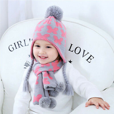 Toddler Girls Winter Hat Scarf Set Kids Knitted Pompom Warm Beanie Hat Earflaps