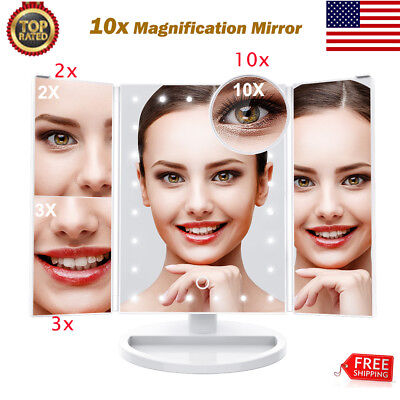 1X/2X/3X/10X Magnifying Cosmetic Makeup Mirror Trifold 180° 24LED Vanity Lighted