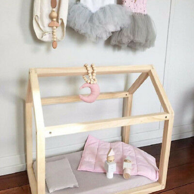 Kids Room Wooden Beads Moon Shape Baby Bed Hanging Decor Photography Props LH