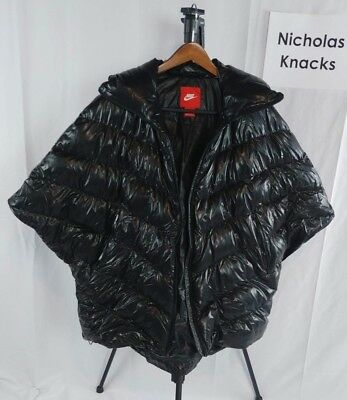 Women's NIKE Duck Down Poncho Style Quilted Black Jacket sz. XL