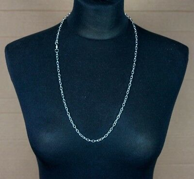 5 × Plain Silver Chain Link Necklaces 70cm Long, Fashion Accessory, Craft