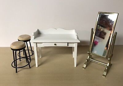 VNTG Dollhouse Miniature lot - White Vanity / Desk, Barstools & Mirror! L@@k!!