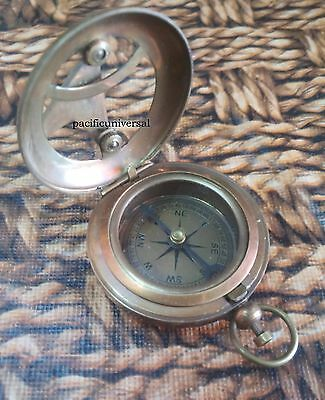 Vintage Antique Brass Sundial Compass Nautical Beautiful Pocket Compass Gift. 2""