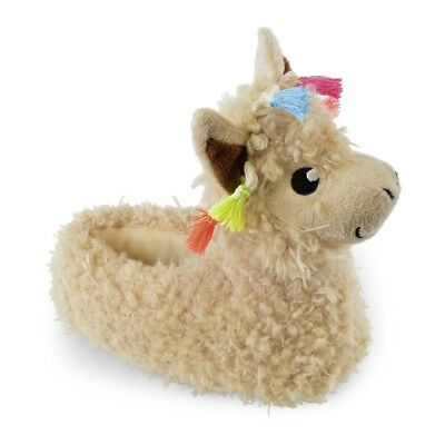 SlumberzzZ Girls 3D Gorgeous Brown Llama Curly Fur Novelty Slippers - 4 UK Sizes