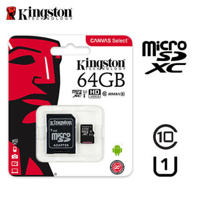 Kingston 80MB/s 64GB Micro SD SDHC UHS-I Class10 Memory Card