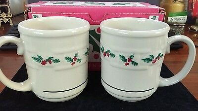 NEW LONGABERGER MUGS TRADITIONAL HOLLY TWO PACK with Box, USA POTTERY