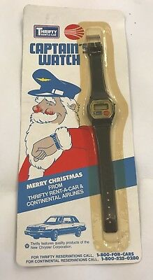 Continental Airlines Thrifty Rent a Car Captain's Watch 1980's Promotional Adver