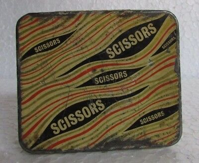Vintage Old Collectible Scissors Ad. Tin  Case Cigarette Box