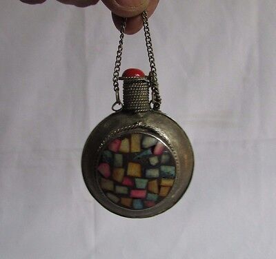 Vintage Old Collectible Unique Shape Perfume Bottle Metal Handcrafted