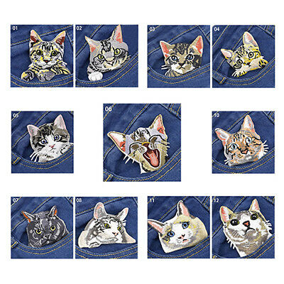 Embroidered Cartoon Applique Iron On Sew On Patch Clothing Pocket Cat DIY one