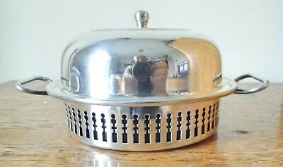 VINTAGE but NEW 1960s SHEFFIELD SILVER PLATE ROUND BUTTER DISH Blue Glass Liner