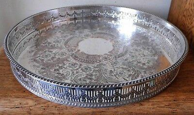 REPRODUCTION of OLD SHEFFIELD SILVER PLATE VINTAGE 1930s CIRCULAR GALLERY TRAY