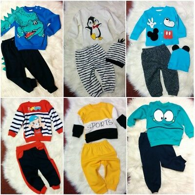 Cute Baby Newborn Kids Toddler Boys Tracksuit Jumper Pants Trousers Set Outfits