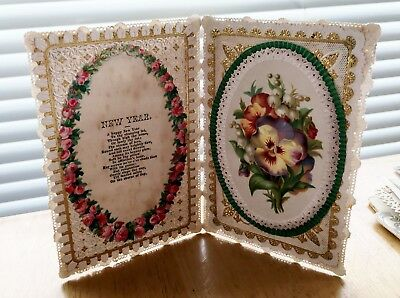 original 19th century antique victorian new year card ref 74