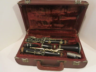 Vintage Wood Clarinet After Stradolin Made In Italy - French Ligature & Cap