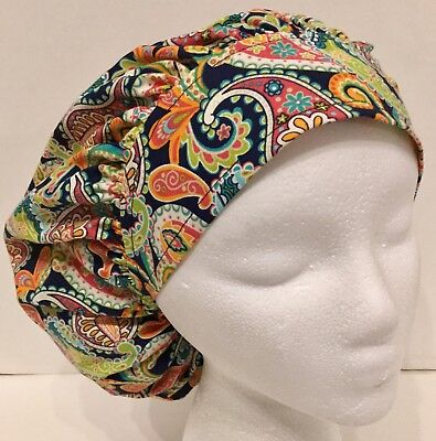 Paisley Print Size Large Medical Bouffant Scrub Cap Surgery Hat