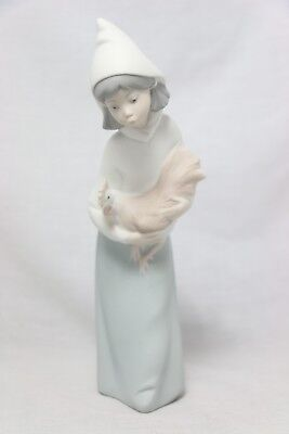 Lladro Girl Holding Chicken