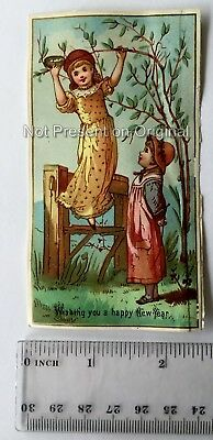 original 19th century antique victorian new year card ref 84