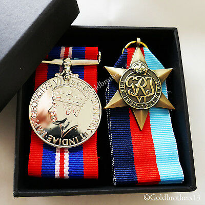 1939-45 War Medal + 1945 Star WW2 Military Campaign Medals - Armed Forces Repro