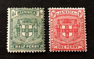 2 nice old mint hinged stamps Jamaica 1906