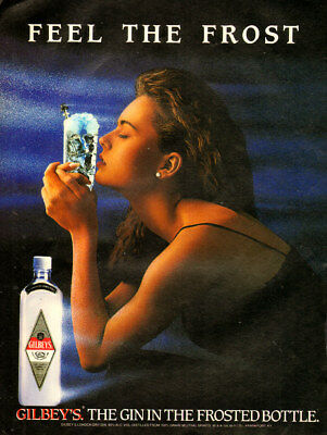 1980s vintage beverage AD GILBEY'S GIN ..frosty ad, top model Paulina 120917