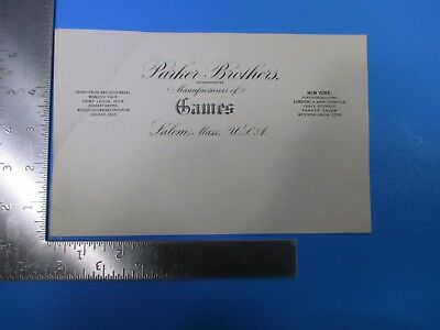 Vintage Parker Brothers Incorporated Games Letterhead Salem MA Blank Paper S8105