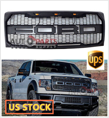 2009-2014 Ford F-150 F150 Grill Raptor Style MATTE GRAY OE Grille w/F+R 3 Lights