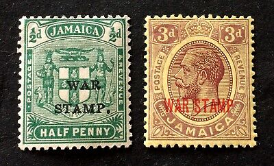 2 nice old mint hinged war stamps Jamaica