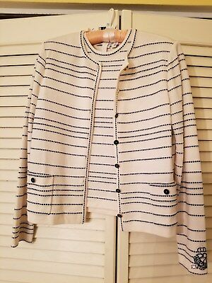 St.john Collection By Marie Gray Santana Knit Off White Twin Set, Size  Small
