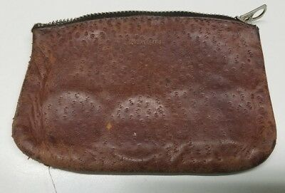 Vintage Old Used Men's Leather Change Purse Marked Genuine leather & Talon