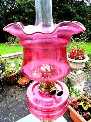 A Very Good Cranberry Coloured Glass Twin Duplex Oil Lamp Shade.