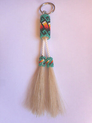 New Navajo Indian Key Chain Teal Horse Hair Seed Beads Lena Native American AZ