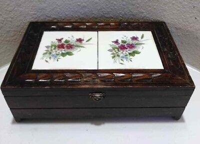 Vintage Carved Wooden Wood Jewelry Box Inlaid Ceramic floral Tile