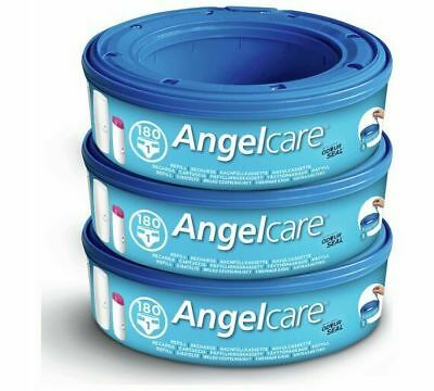 Angelcare Refill Cassette 3 Pack For Nappy Bin Disposal System Sacks Bags Liners