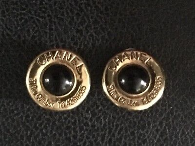 Chanel Vintage Black Gold Tone Clip On Earrings 31 Rue