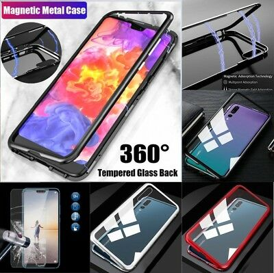 Magnetic Adsorption Aluminium Bumper Metal Full Case Cover Tempered Glass Huawei