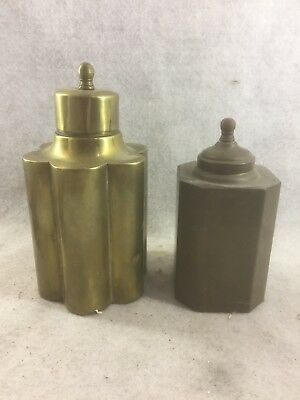 Two (2) ANTIQUE 19th Century BRASS ENGLISH TEA CADDY or Canister