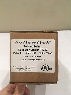 Boltswitch Fuse Pullout Switch PT363 100A 600V 3P New with TK100P Lugs