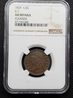 1829 1/2 Cent C1 Ngc Au Details, Cleaned