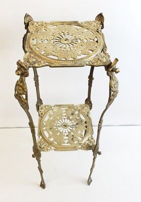 Antique Vintage Ornate Brass 2 Tier Plant Stand end Table side table