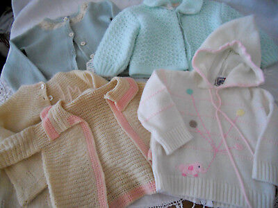 LOT 5 VINTAGE KNIT BABY or REBORN DOLL SWEATERS  RENZO PETIT AMI SHEEPS HEAD +
