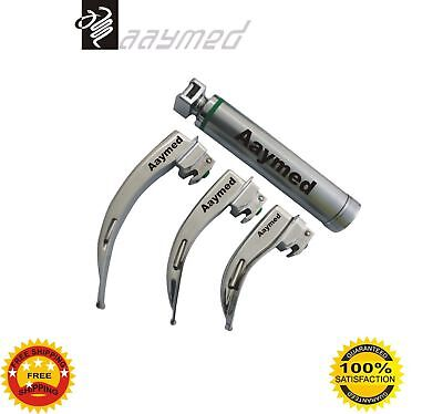 Macintosh Fiber Optic Laryngoscope Set No. 1, 2 & 3 LED Bulb Surgical FREE SHIP