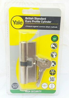 YALE. Kitemark. Euro Double Cylinder PKM 35 x 35 Nickel-plated. (80mm). NEW. .